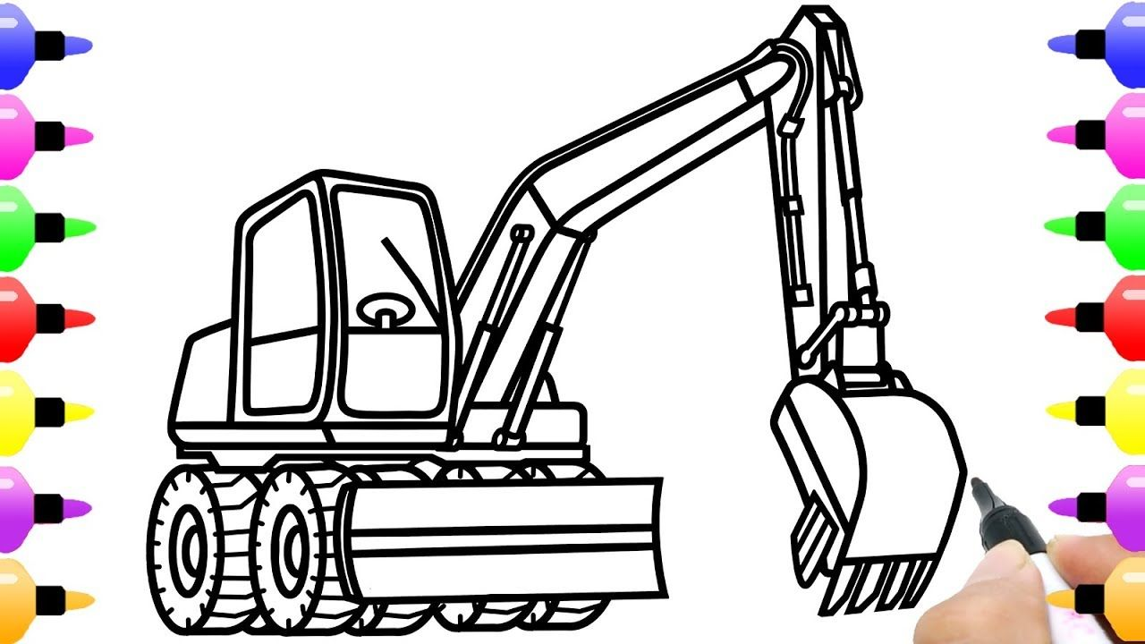 How to Draw Excavator for Kids Coloring with Colored