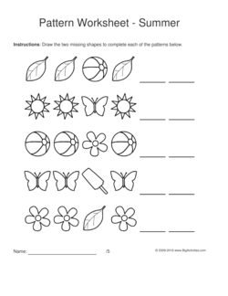 summer pattern worksheets for kids black white shapes 1 1 2 pattern draw the two missing. Black Bedroom Furniture Sets. Home Design Ideas