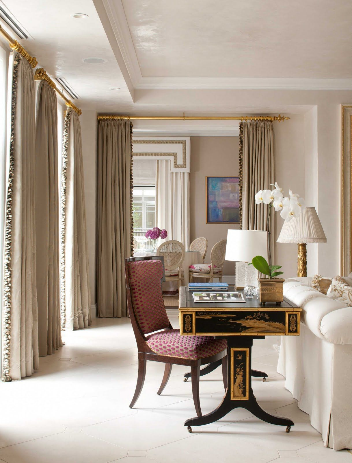 Dining room window coverings  trim on curtains  client inspiration  pinterest  cornice window