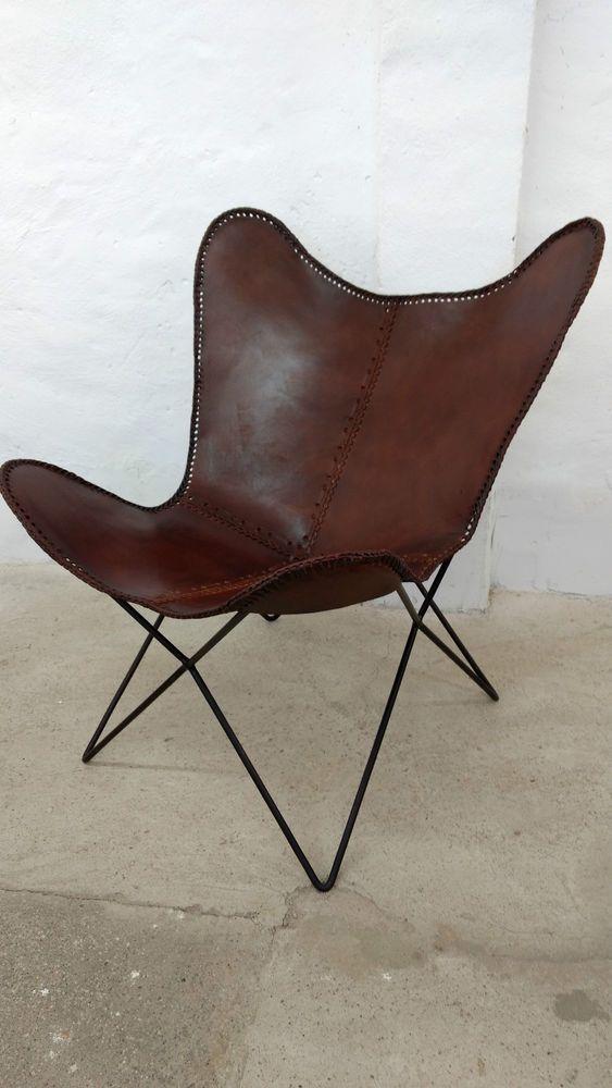 Details Zu Butterfly Chair Echt Leder Stuhl Relax Sessel Braun Vintage  Design Loft Lounge