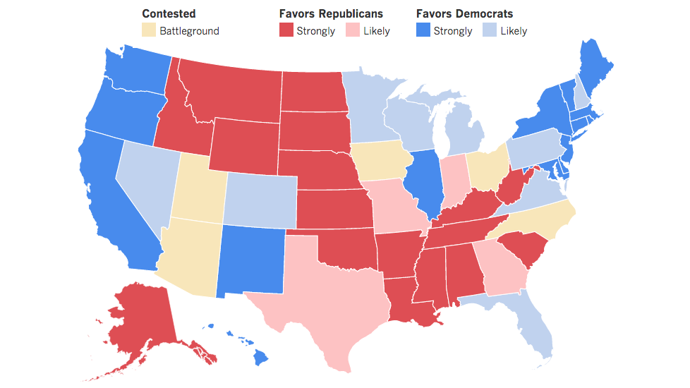The Race To 270 Presidential Candidates Election Map And - Us Election Results Red Blue Map