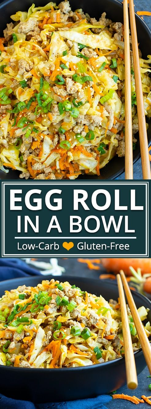 Egg Roll in a Bowl   Keto + Paleo is part of Dinner recipes healthy family - This Egg Roll in a Bowl recipe is loaded with Asian flavor and is a Paleo, Whole30, glutenfree, dairyfree and keto recipe to make for an easy weeknight dinner   From start to finish, you can have this healthy and lowcarb dinner recipe ready in under 30 minutes!