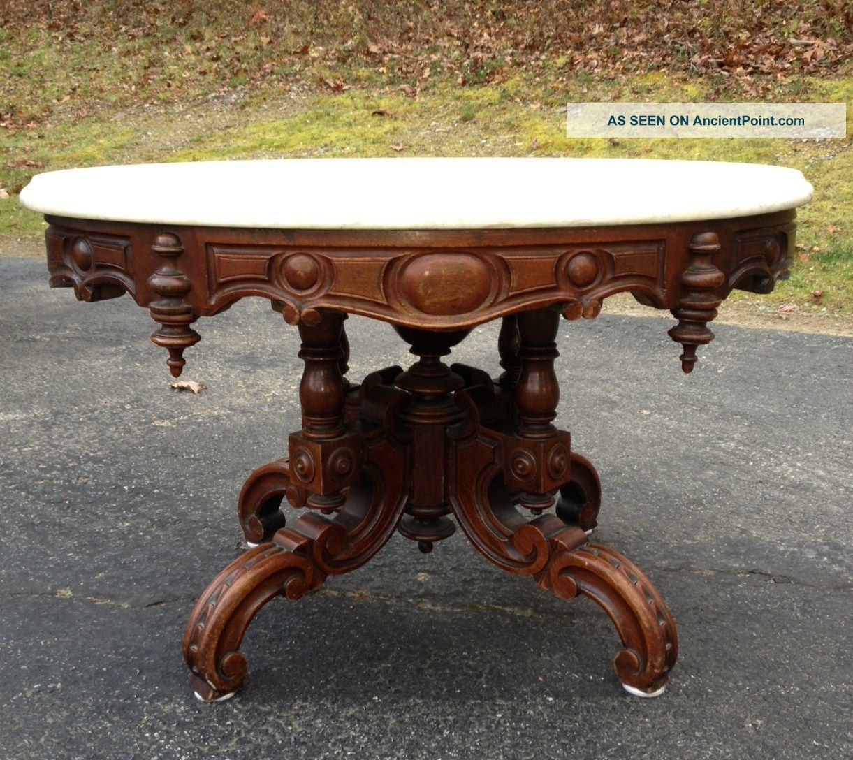 Marvelous Oval Marble Top Coffee Table, Attr. Thomas Brooks 1800 1899