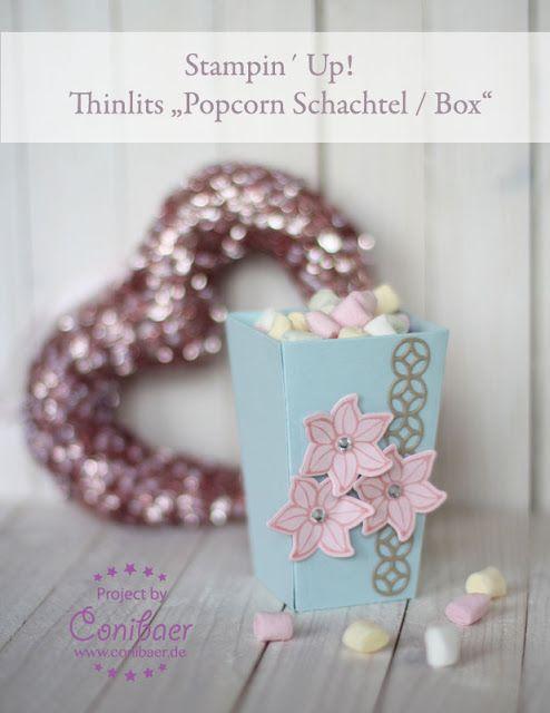 www.conibaer.deleine Popcorn Schachtel / Snackidee / kleiner, schöner Snack für´s Buffet / Party Snack / Hochzeit / Basteln / Stanzen / Big Shot - small popcorn box / snack / buffet idea / party snack / paper crafts / die cut / wedding