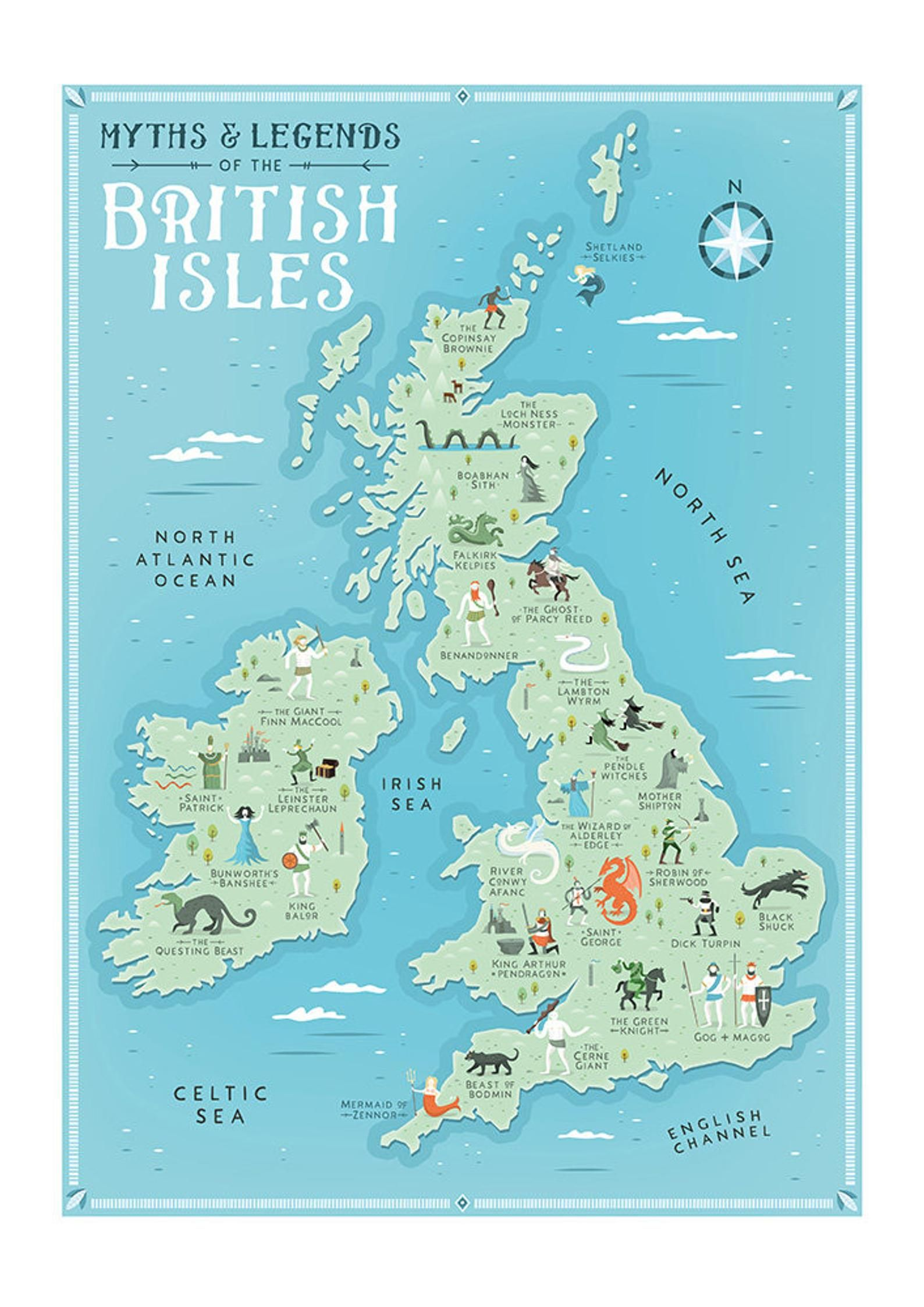 British Isles Map Myths And Legends Of The British Isles Etsy British Isles Map Map Of Britain Illustrated Map