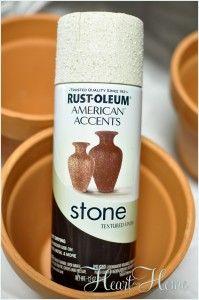 use rustoleum stone spray paint to age terra cotta flower pots