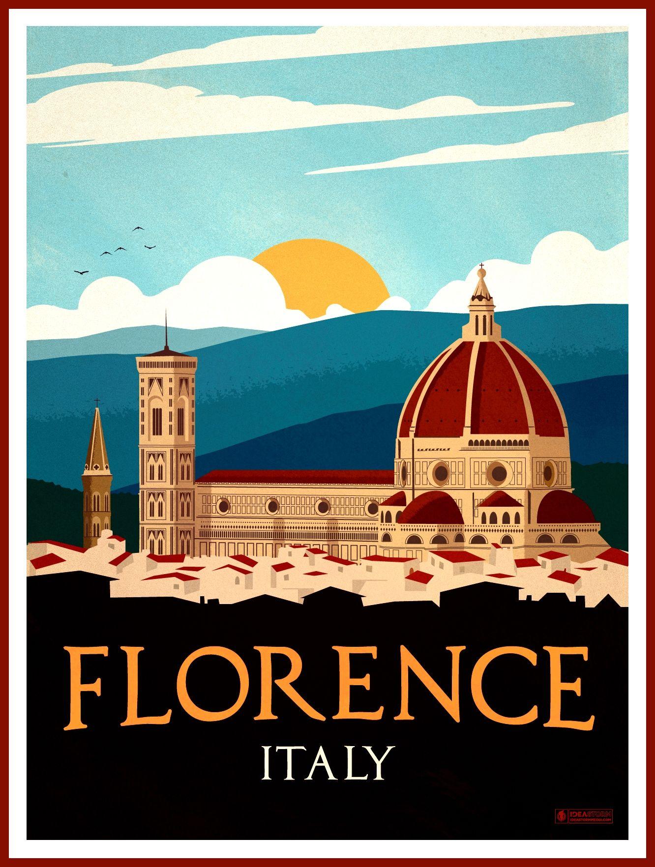 Florence 44350867474 O Vintage Retro Travel Ads Poster