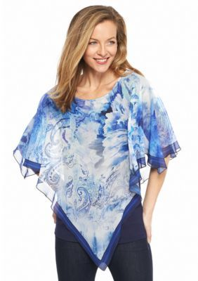 New Directions  Floral Paisley Poncho Overlay Blouse