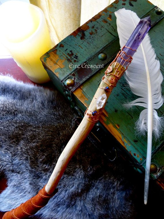 Witch Wands Real: The Mystic Amethyst And Cedar Wand By EireCrescent On Etsy