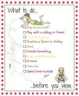 what to do before you view a printable list of things for your kids