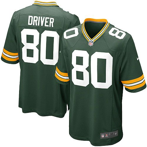 0874878f762 Mens Nike Green Bay Packers 80 Donald Driver Game Green Team Color NFL  Jersey ...
