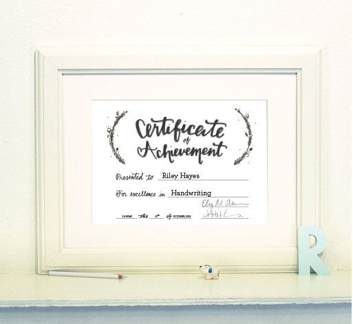 Original Calligraphy FillInTheBlank Certificate Of Achievement