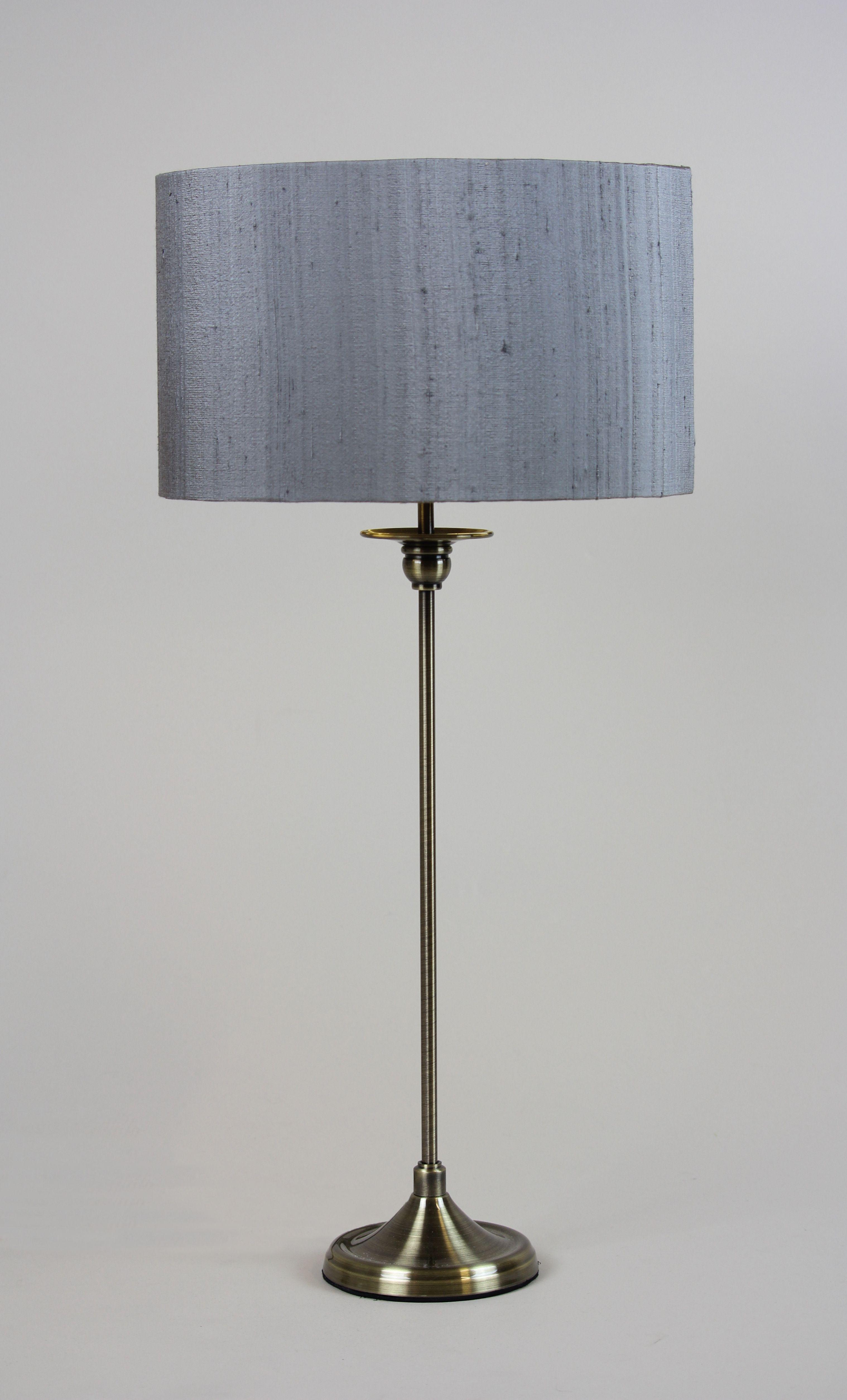 Handmade 30cm drum slub silk grey premium copper inner stem rocke bespoke table lamp basebrass aloadofball Images