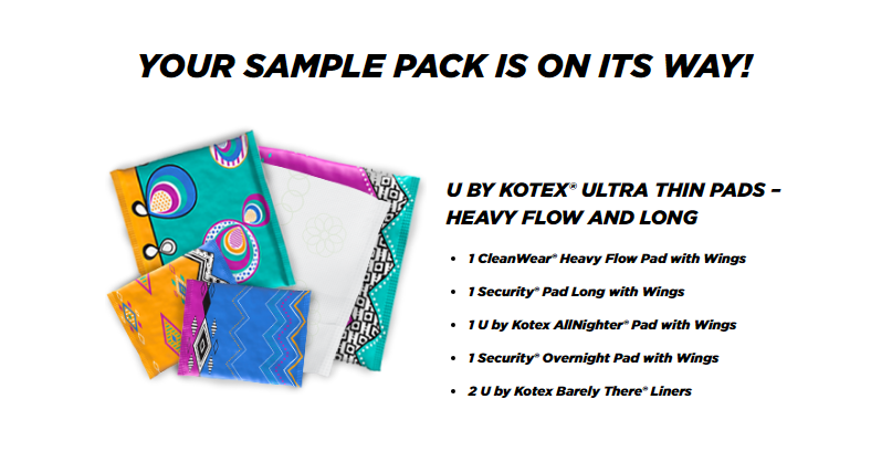 FREE U By Kotex Sample Packs (tampons or pads) This can be ...