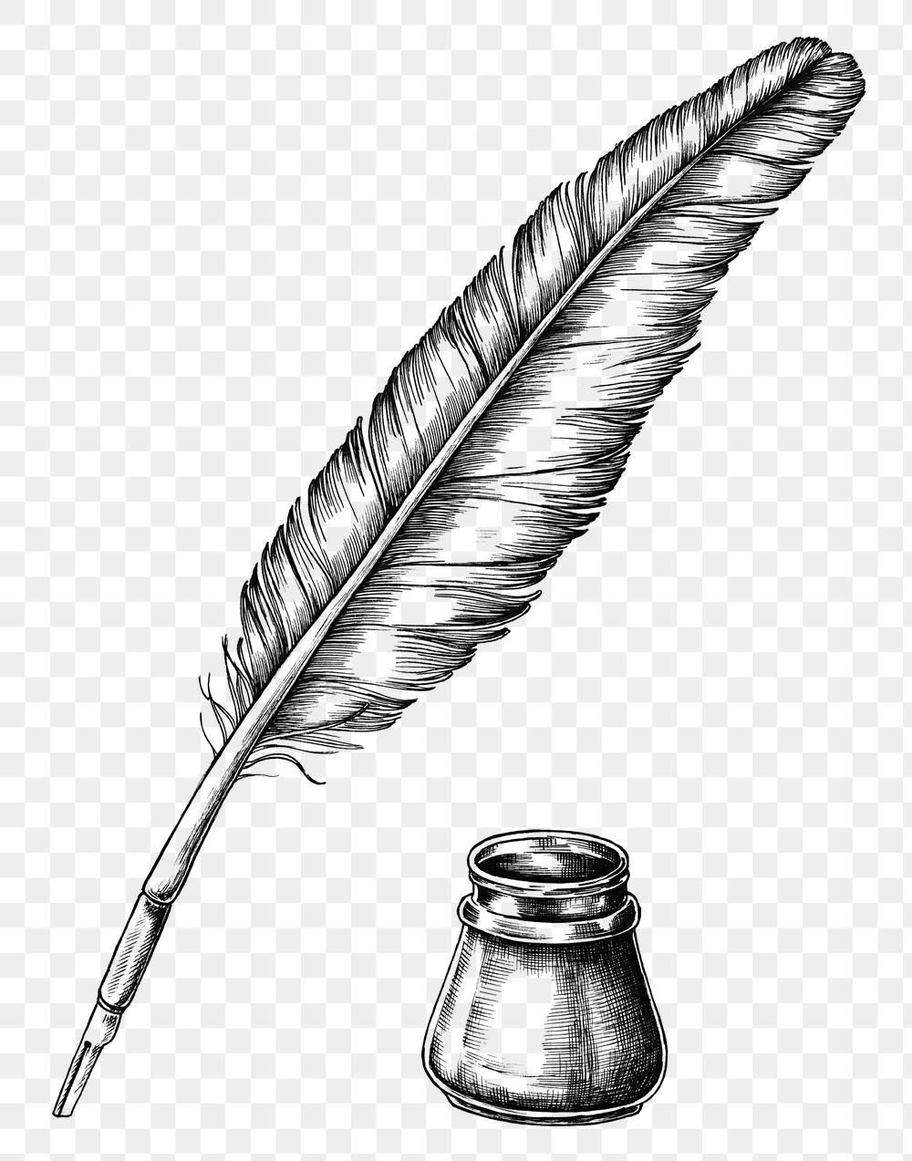 Hand Drawn Quill Pen With An Inkwell Transparent Png Free Image By Rawpixel Com Ink Pen Drawings How To Draw Hands Quill Pen
