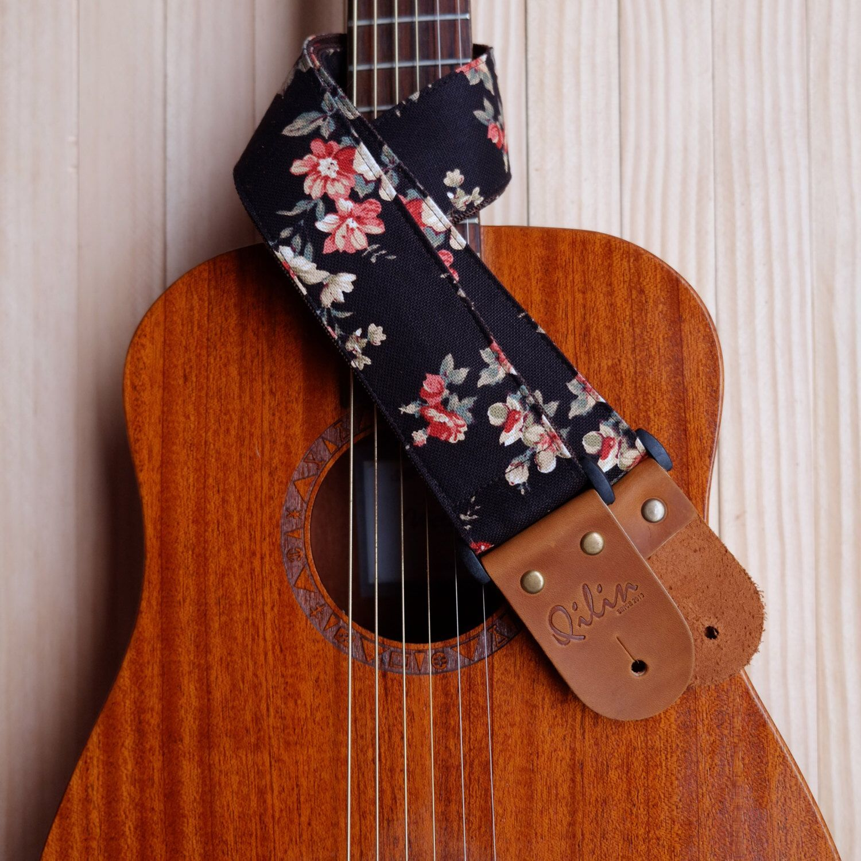 Black Fabric Flower Guitar Strap Etsy In 2020 Ukulele Guitar Strap Acoustic Guitar Case