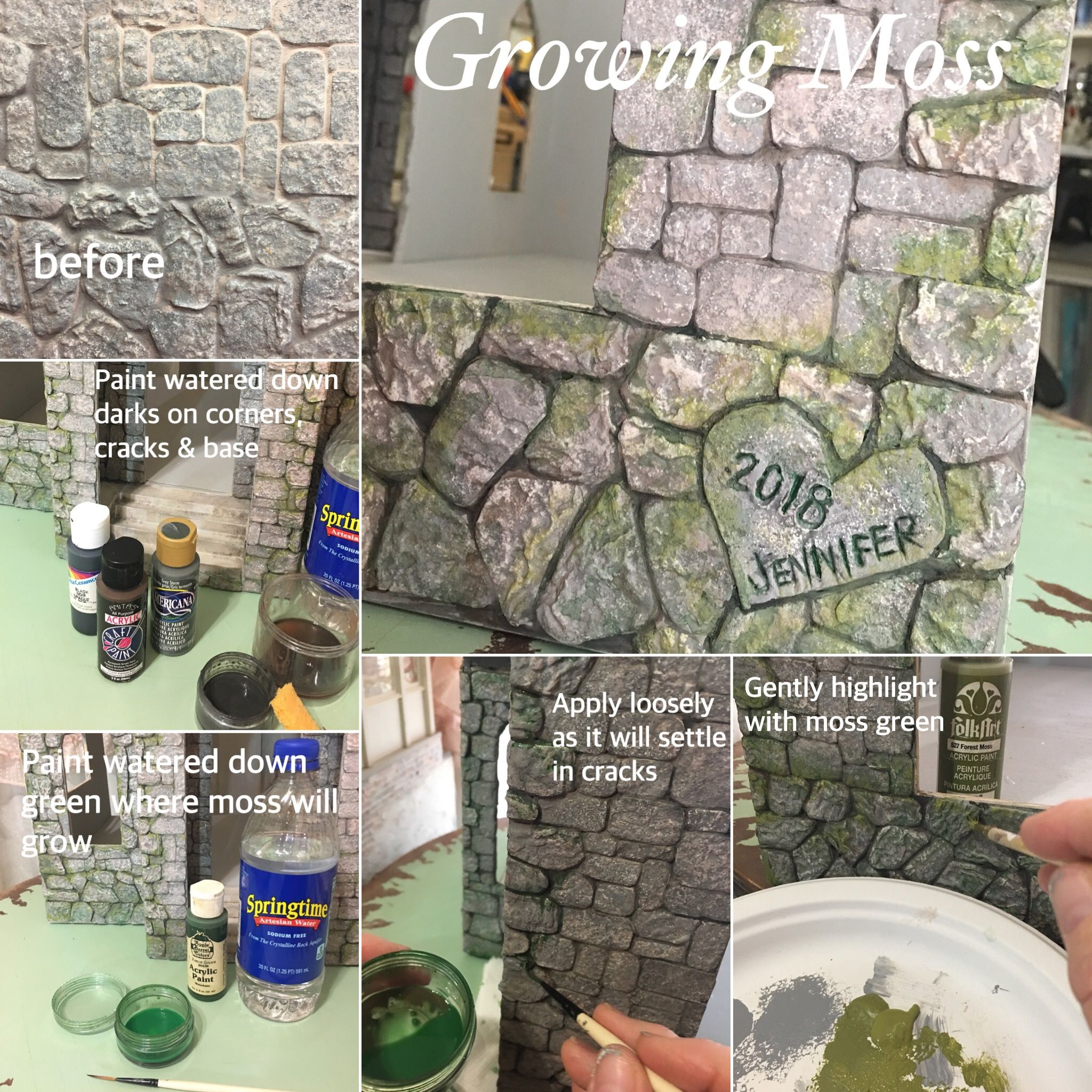 DIY miniature stone cottage moss and aging tutorial for egg carton stones. #dollhouseminiaturetutorials