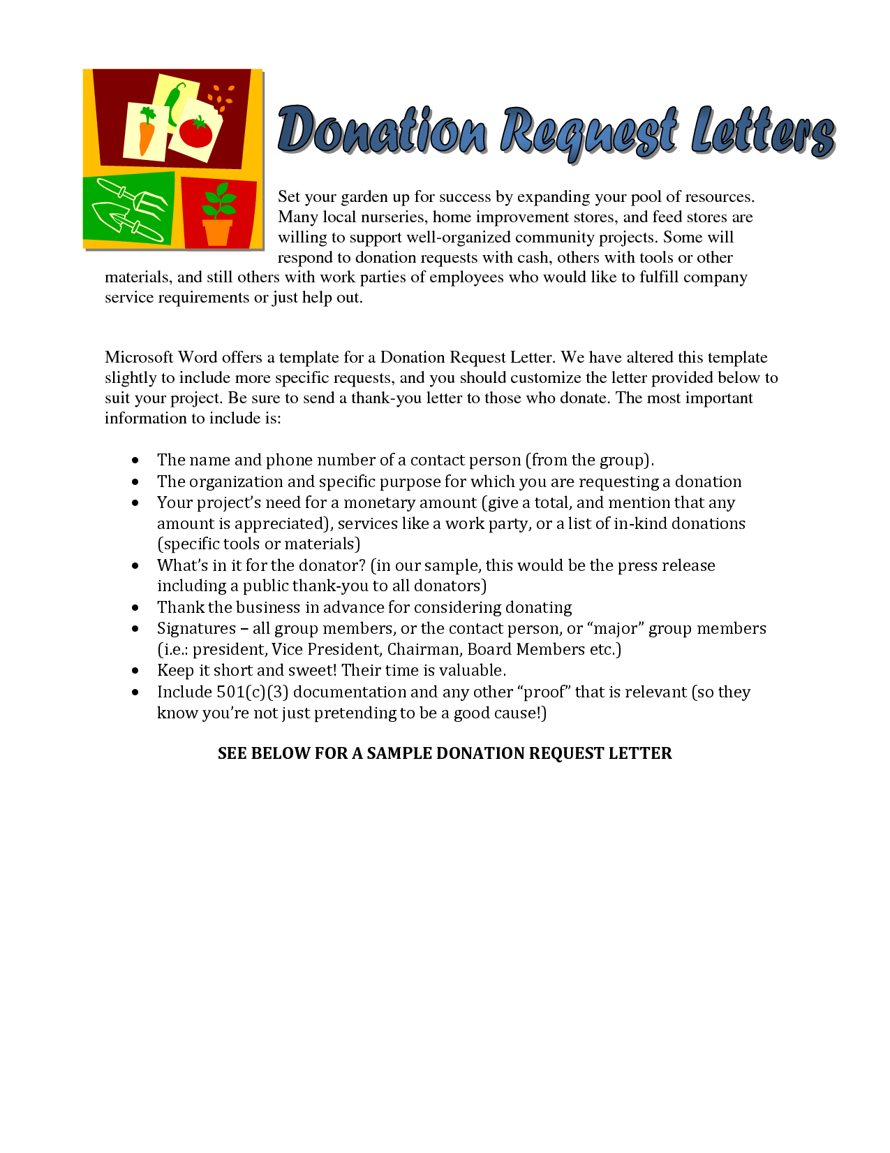Sample Church Donation Letter | Sample Donation Request letter