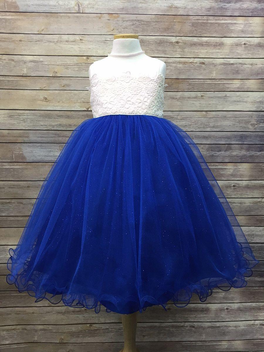 5ad2e51735c Flower Crochet Bodice W  Royal Blue Tulle Glitter Skirt