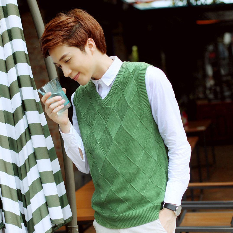 2017 men fall head cotton sleeveless sweater vest pure Korean ...