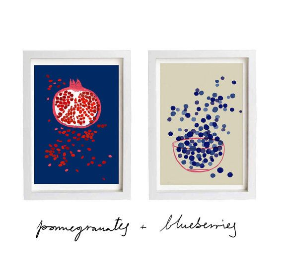 want for the kitchen <3 Art poster print Indigo Pomegranate fruit 20x27 by anek