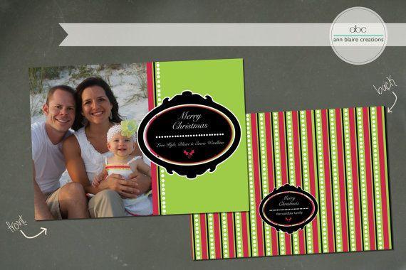Custom Christmas Card Neon by annblairecreations on Etsy, $17.00