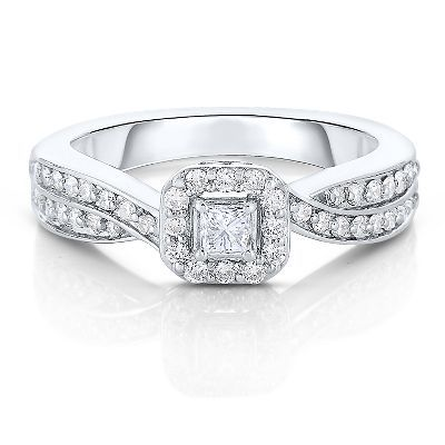 1/2 ct. tw. Diamond Engagement Ring in 10K Gold available at #HelzbergDiamonds