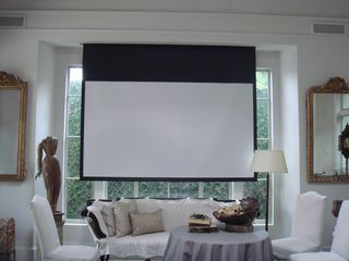 Drop down screen for tv projector living room fam room ideas room living room home theater for The living room drop in center