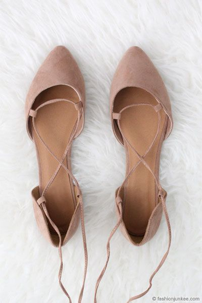 88757caeebad41 Faux Suede Pointy Toe Lace Up Strappy Ballet Ballerina Flats-Nude Beige