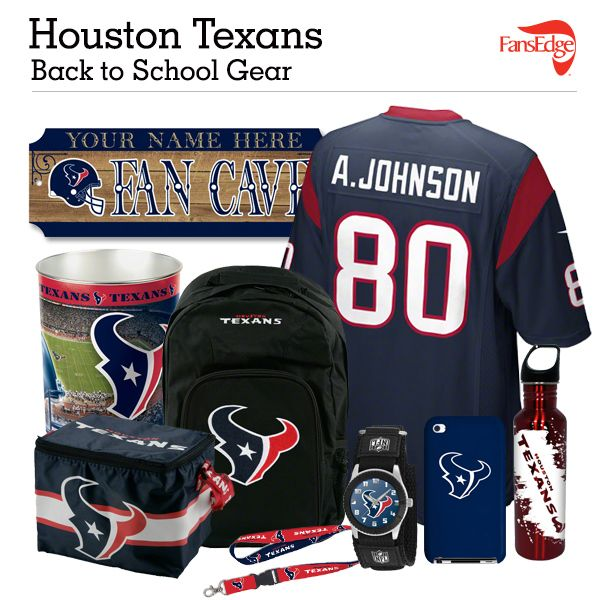 Houston Texans Fans - Pin It to Win It All! You can win a complete back to school NFL prize pack worth over 300 dollars! To enter, pin your favorite NFL Team's Back to School image to win every item in the collage! #FansEdge –Visit http://www.fansedge.com/promotions.aspx?social=pinterest_nfl_pintowin to enter