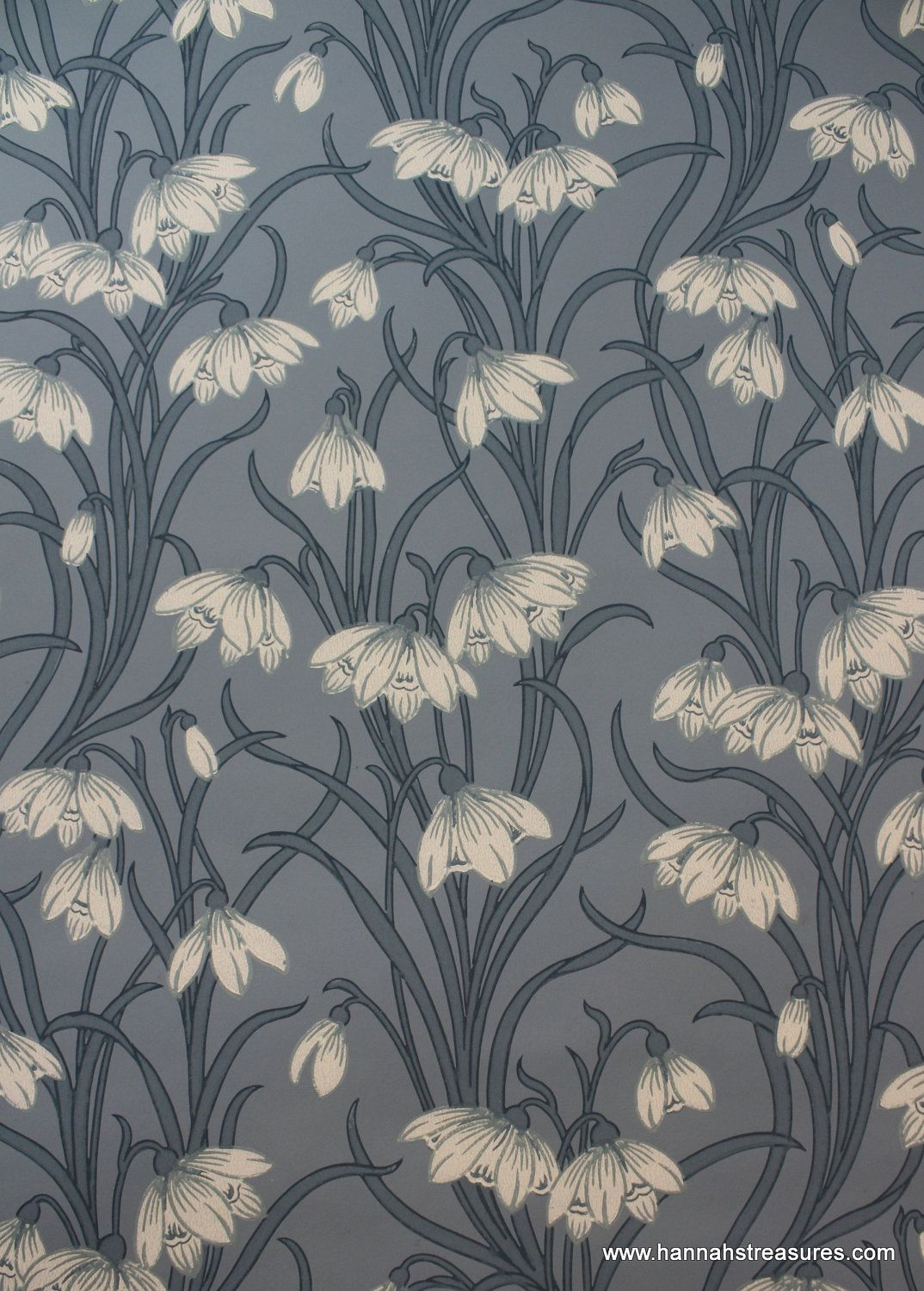 1920s Vintage Wallpaper Stunning White Floral On Blue Background