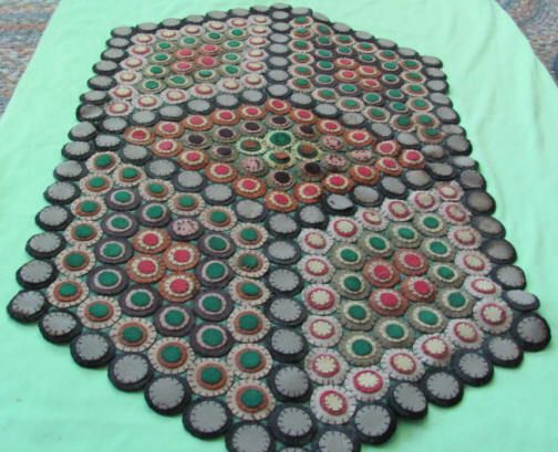 Antique Penny Rug Hexagon Shape Home