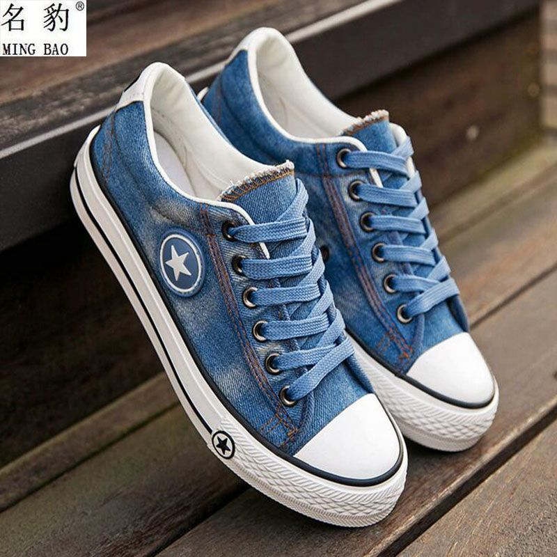 e3be864451c2 MINGBAO 2017 spring new female models canvas shoes Casual washed denim casual  shoes High quality women s