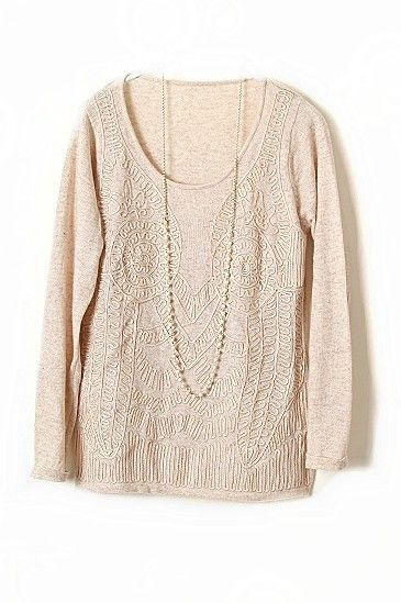 Apricot Long Sleeve Elasic Embroidery Pullovers Sweater