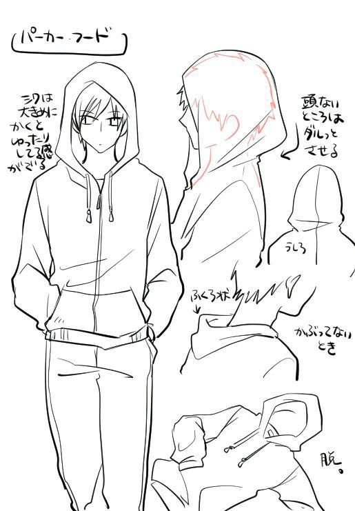How to draw a person wearing a hood clothing drawing reference