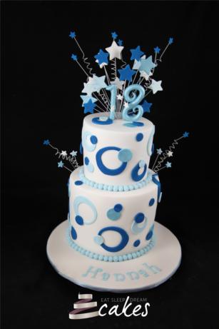 birthday cakes 18 girl 18th Birthday Cake Blue Circles 2 Tier