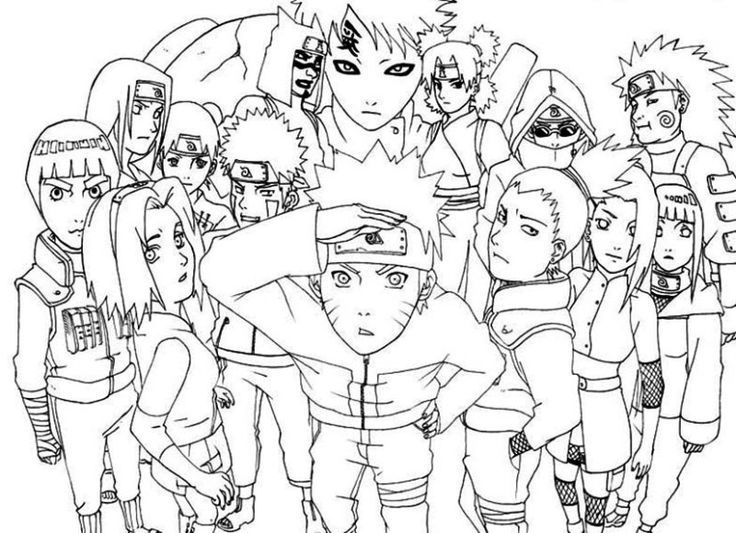 naruto and all friends coloring pages