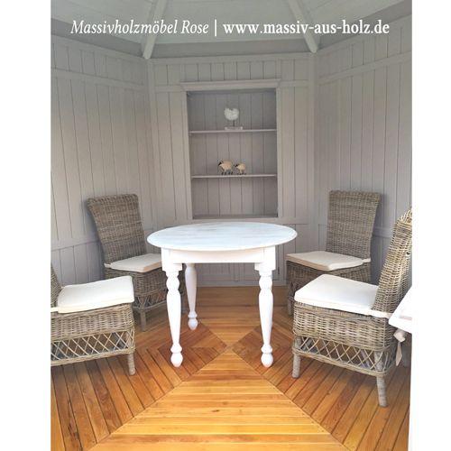 Runder Tisch aus Eiche in Weiß lasiert wwwmassiv-aus-holzde - küche landhaus weiß