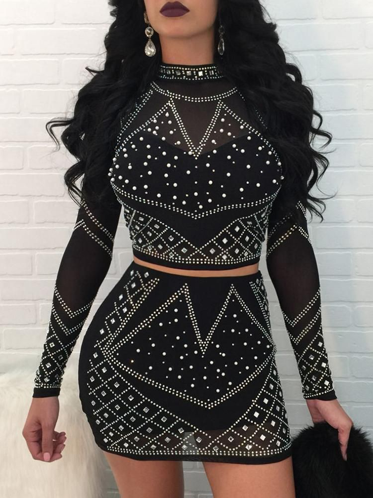 Retro Pattern Sequins Mock Skirt Sets  14b39a5c1aea