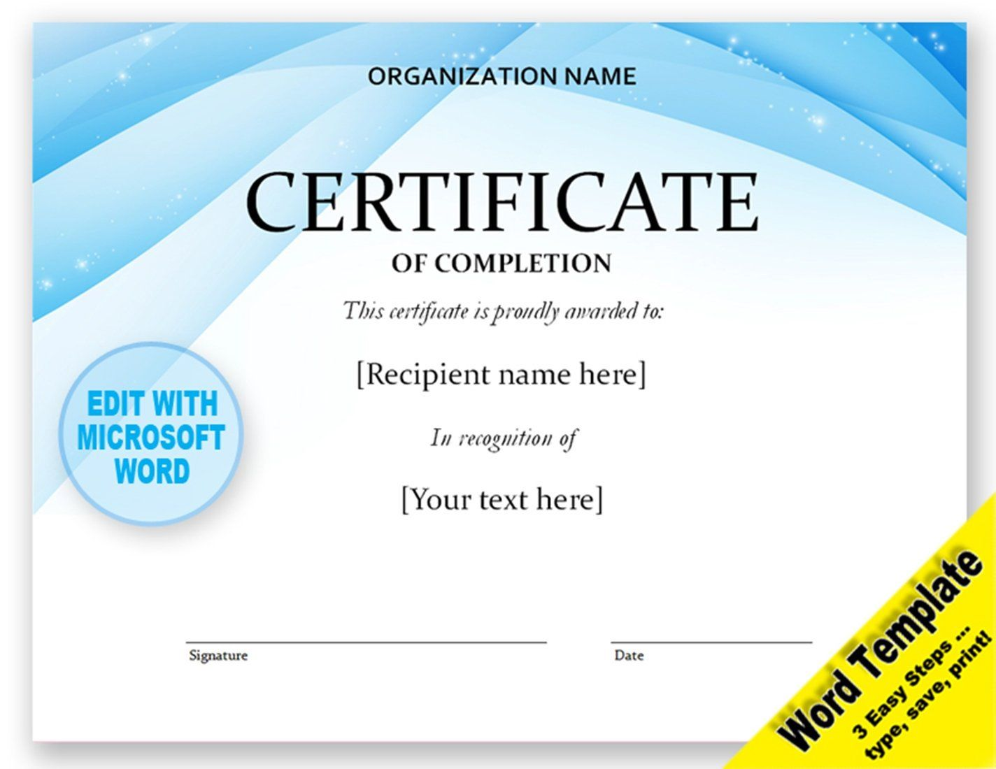 Certificate Editable Word Template Printable Instant Download