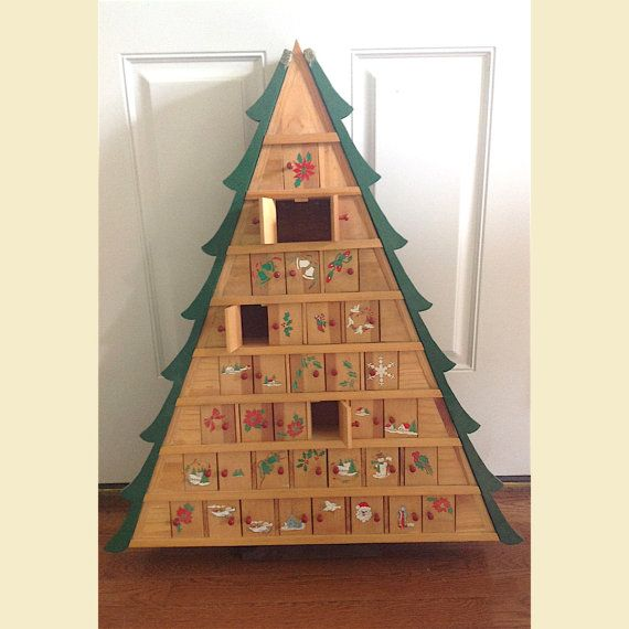vintage wooden christmas tree advent calendar christmas advent calendar with doors large wooden christmas tree advent calendar to hang - Wooden Christmas Advent Calendar