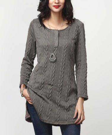 dddb4d3abee reborn collextion Charcoal Cable-Knit Button-Front Tunic  zulily   zulilyfinds