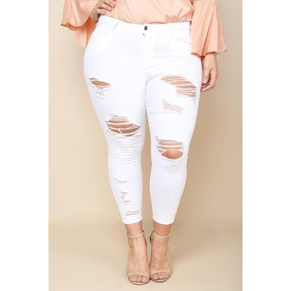 PLUS SIZE DISTRESSED WHITE SKINNY JEANS ($27) ❤ liked on Polyvore ...