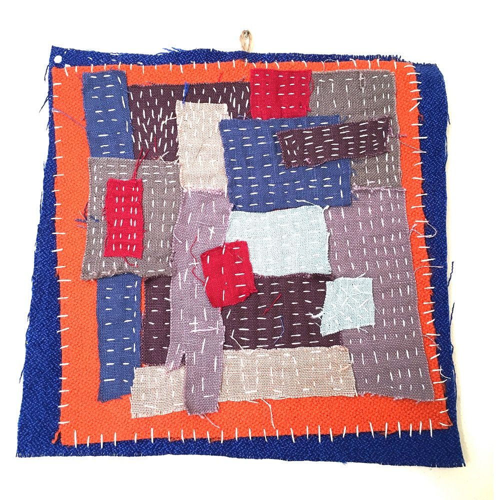 """Textile art collage - """"Neighborhood"""" Hanging piece, wool and cotton - modern patchwork by judithadesigns09 on Etsy"""