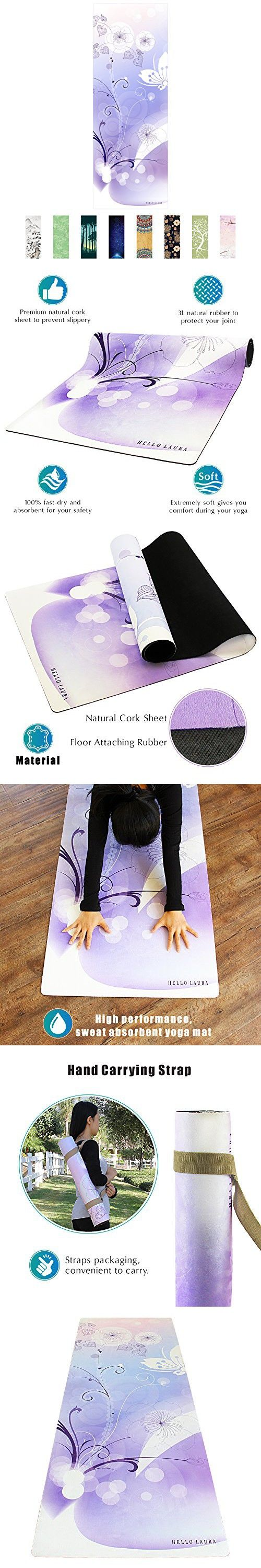 Hello Laura Premium Quality Performance Yoga Mat European Suede Surface Texture Pvc Free Anti Slippery Eco Friendly For Bikram Hot Yoga Pilates And Other Exercise Under Water Theme Hot