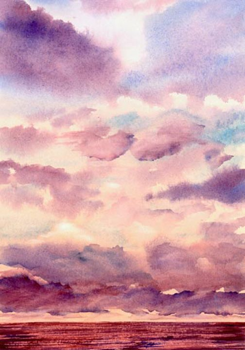 Watercolor Painting Of Sunset Over Indian Ocean Watercolor