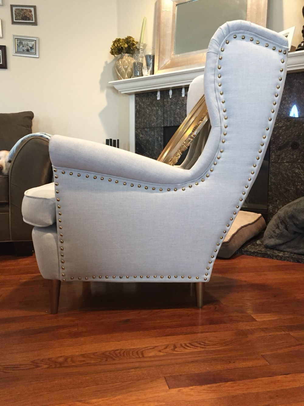 Added Upholstery Tacks To The Strandmon Wing Back Chair