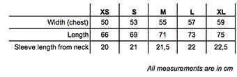 JLE Size Chart