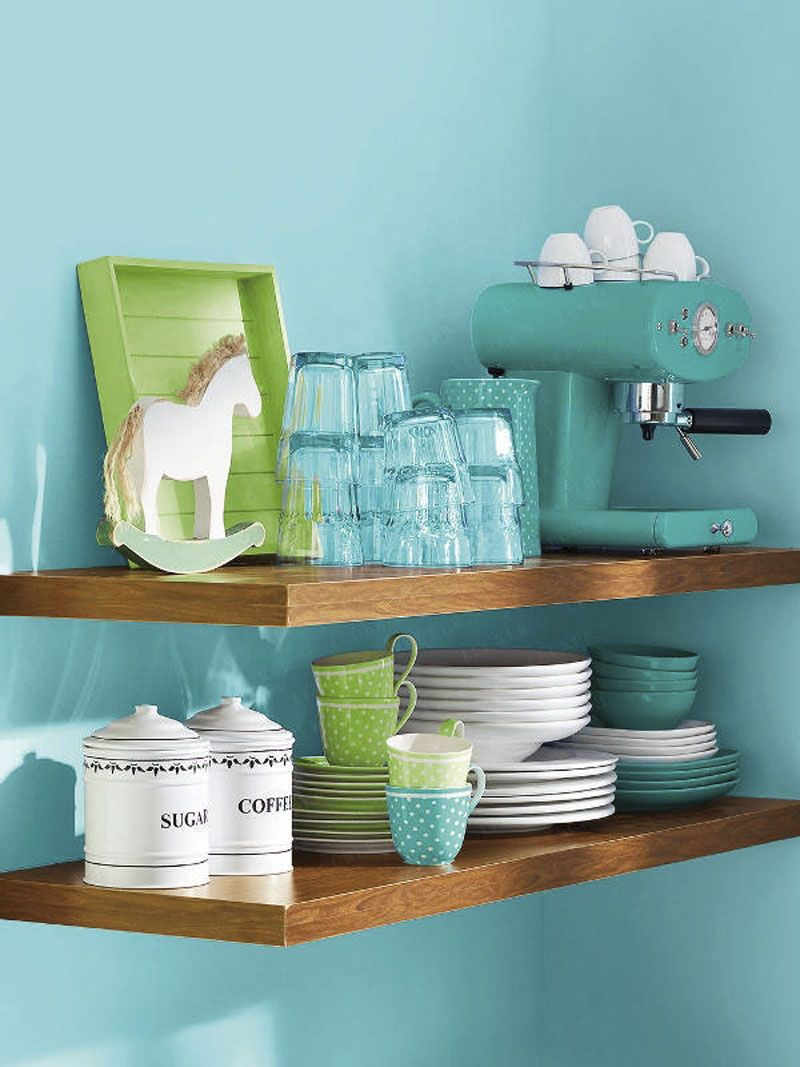 Kitchen Decor: Vintage White, Turquoise, & Apple Green Shelf Decor ...