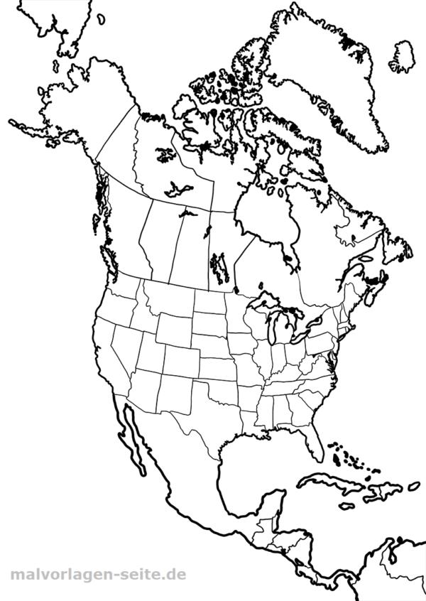 Landkarte Nordamerika Zum Ausmalen Malvorlagen Ausmalbilder